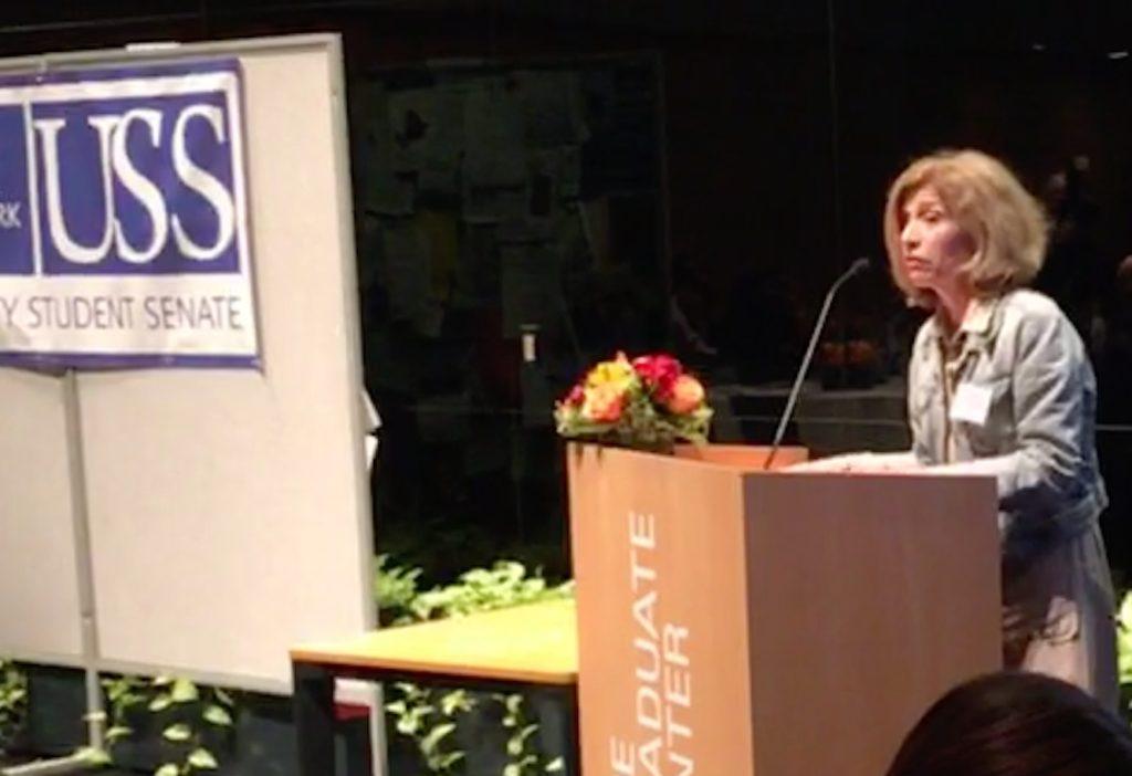 Dr. Vita Rabinowitz, Interim Chancellor, speaks to scholarship recipients at the USS awards dinner.