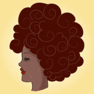 drawing of woman of color with curly, natural hair