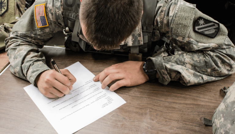 military person working on application
