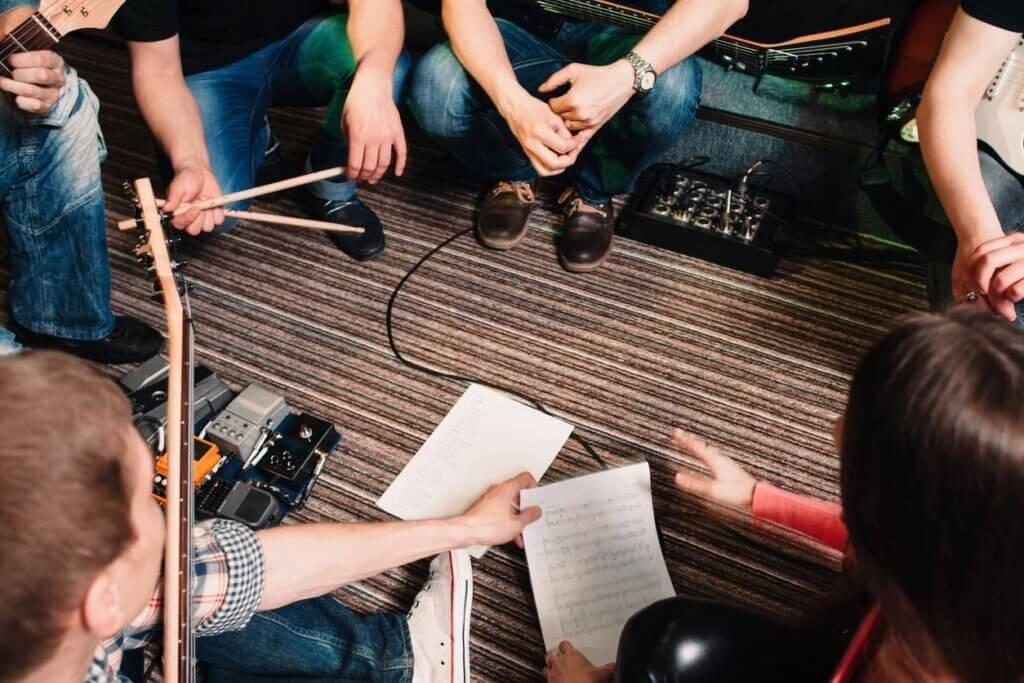 musicians sitting