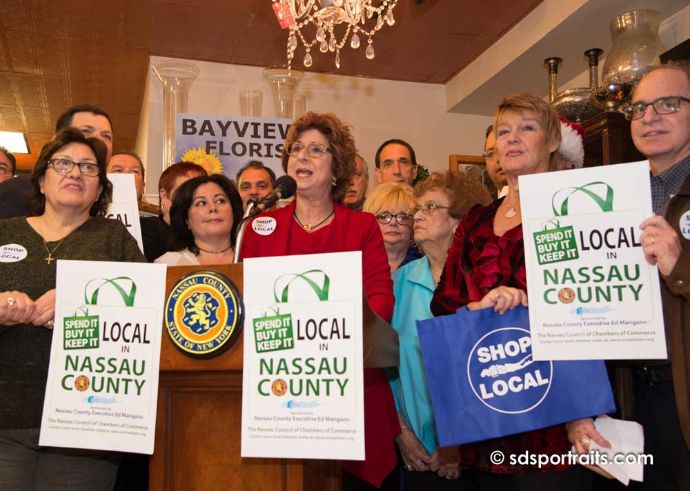 chamber board members promoting Shop Local campaign