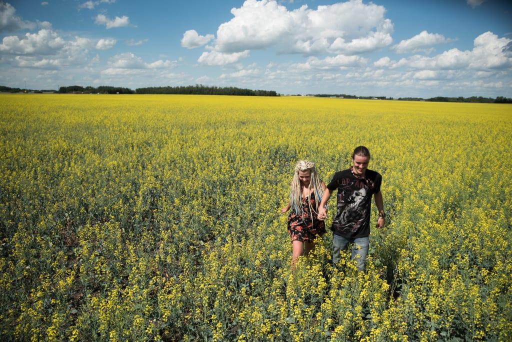 009-Edmonton Canola Field Engagement Couple Photography Session-