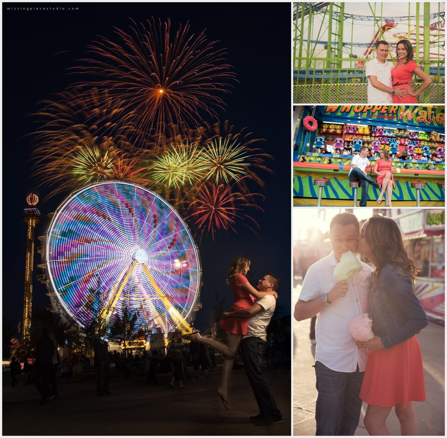 Beautiful Fireworks displays in Edmonton under the beautiful city scape at northlands during KDays festival