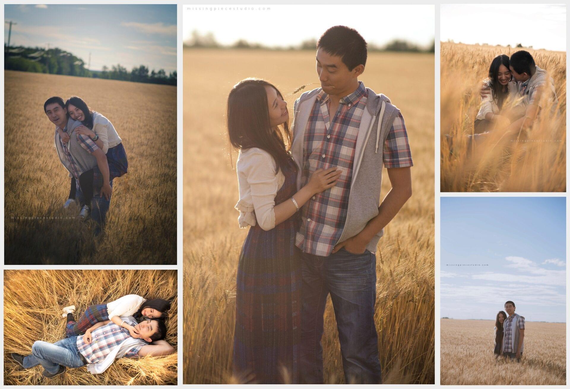 A couple walking down the beautiful Alberta Wheat Field in Edmonton