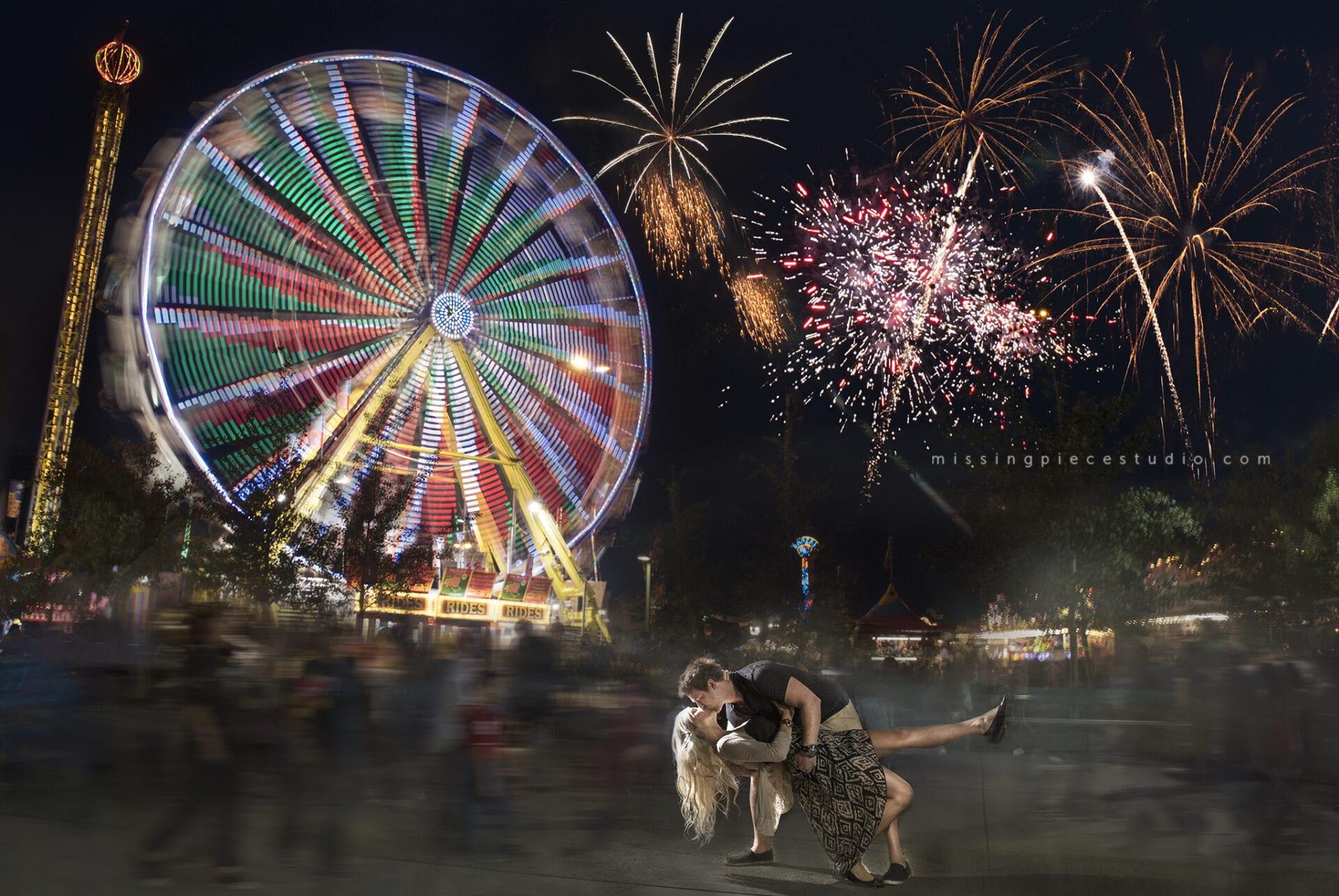 Fireworks displayed on 2015 KDays festival captured on camera during Kdays festival in Edmonton