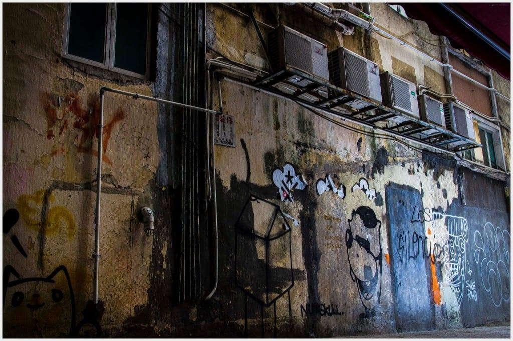 Hong Kong Central Photography sheung Wan--wall graffiti dirty gritty