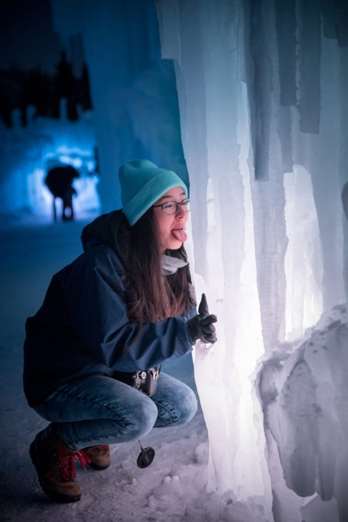licking icicle at ice castles