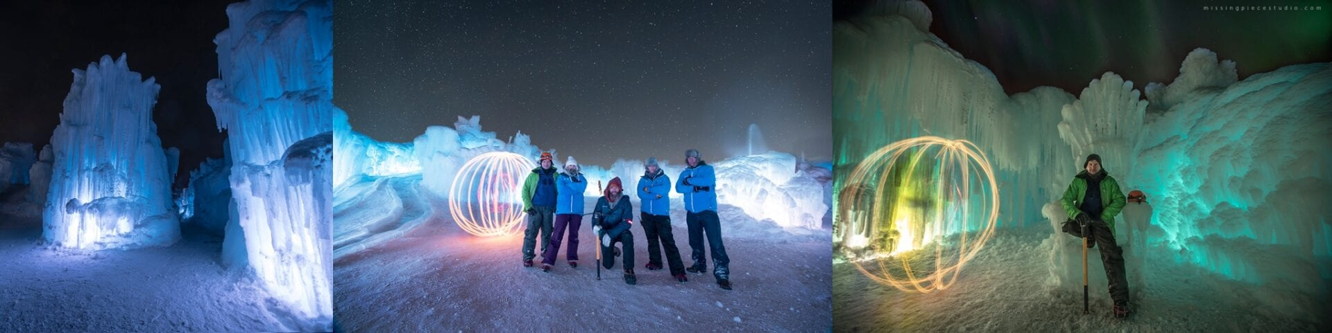 The temporary Edmonton's attraction Ice Castles at Hawrelak Park