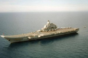 Russia's only air carrier the Admiral Kuznetsov in the Syrian Port of Tartus.