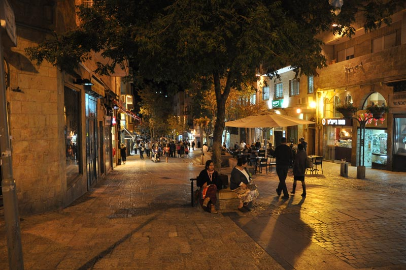 One of Jerusalem's prime hangout spots for locals and tourists alike, Ben Yehuda Street is a pedestrian mall extending between King George Street and Jaffa Road