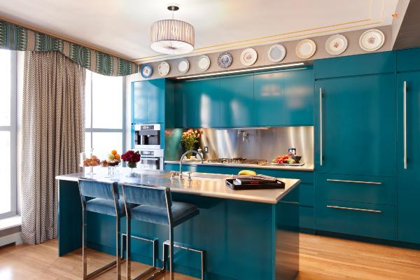 teal-blue-kitchen-with-oranemet-ceiling-ideas-and-curtain-modern-ideas