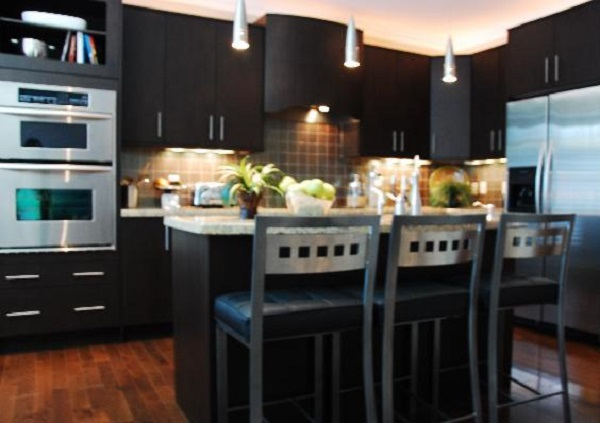 Small Kitchen with Dark Cabinets