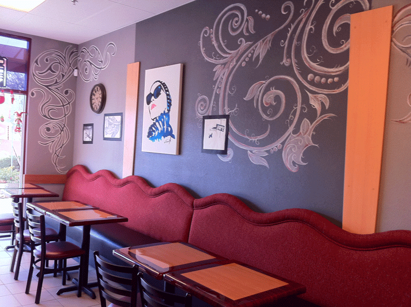 Nana D's Boutique French Bakery wall seats