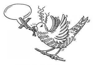 Censorship Speech Bubble Gagged Bird Drawing