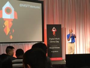 Mukund Mohan, director of Microsoft Ventures Seattle, kicking off Demo Day