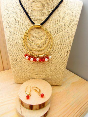 juego dorado perlas cristales rojo cordon