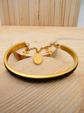pulsera dorado resina negro religiosos