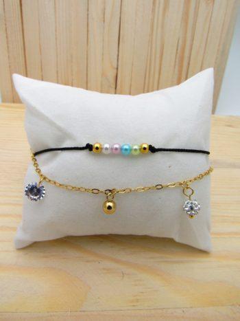 tobillera dorado cordon perlas tuty