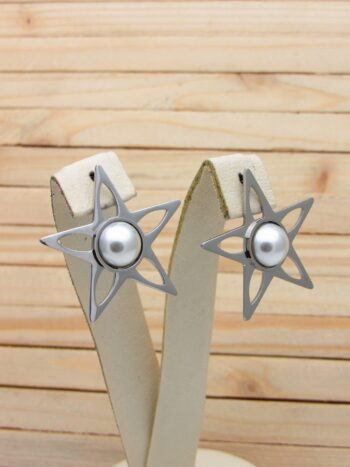 aretes plateado perlas