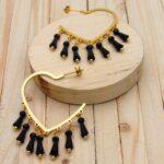 candongas dorado zircones negro