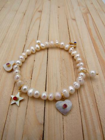 pulseras dorado perlas|zircones blanco