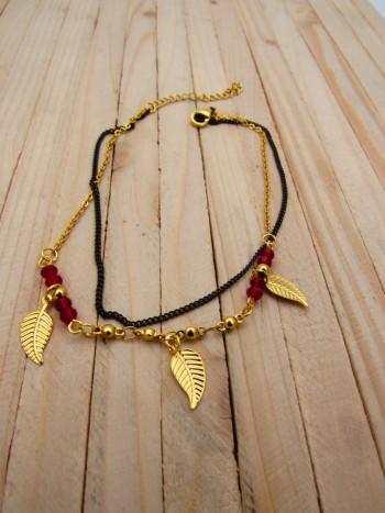 tobilleras dorado perlas