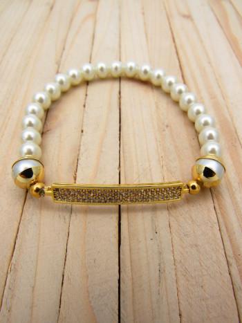 pulseras dorado zircones|perlas blanco