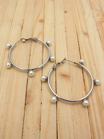candongas plateadas perlas