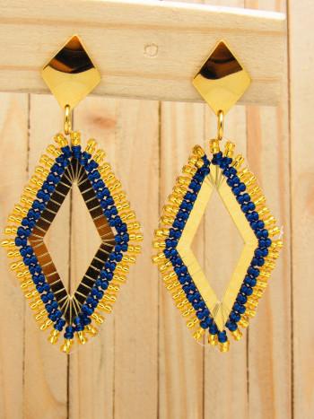 aretes dorado mostacilla azul SKU2089