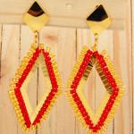 aretes dorado mostacilla rojo SKU2090