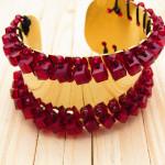 pulseras dorado cristales rojo SKU2119