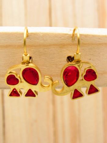aretes dorado zircones rojo SKU2159