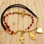 pulseras dorado cristales rojo SKU2252
