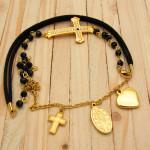pulseras dorado cristales negro SKU2253