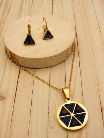 juegos dorado zircones|resina azul SKU2255