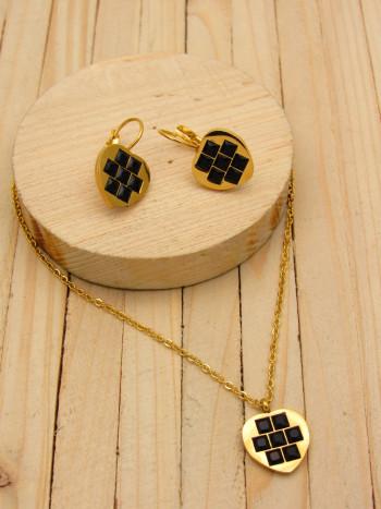 juegos dorado zircones negro  2cm SKU2268