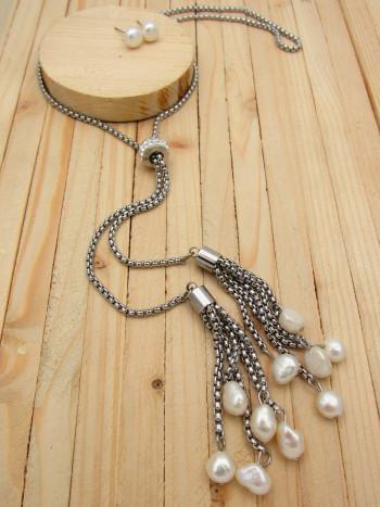 juegos plateado perlas blanco  6cm SKU2273