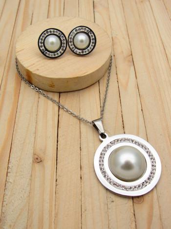 juego plateado resina blanco perlas