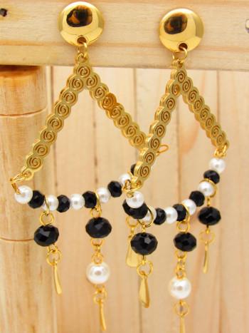 arete dorado perlas negro