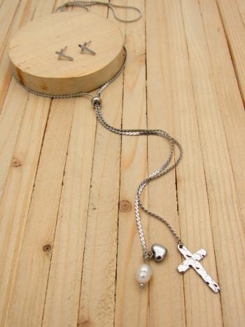 juegos plateado perlas blanco  2cm SKU2283