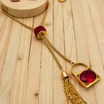 juegos dorado zircones rojo  2cm SKU2296