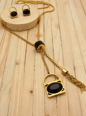 juegos dorado zircones negro  2cm SKU2297