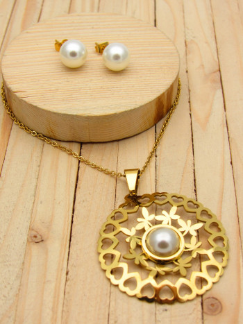juegos dorado perlas blanco  2cm SKU2301