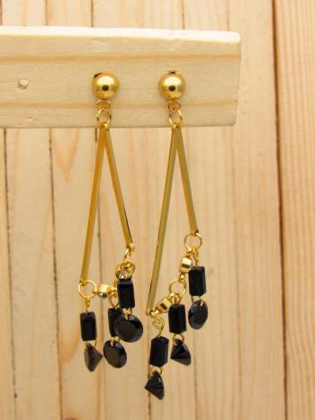 aretes dorado cristales negro SKU2323