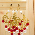 aretes dorado cristales perlas negro blanco SKU2325