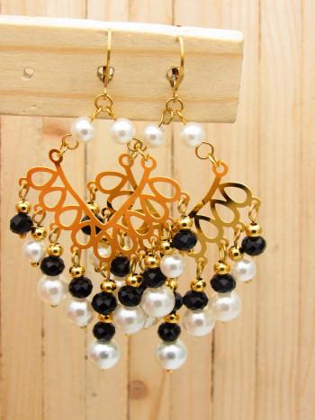 aretes dorado cristales perlas negro rojo SKU2326