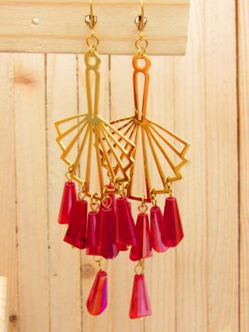 aretes dorado cristales rojo SKU2327