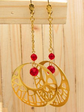 aretes dorado cristales rojo SKU2328