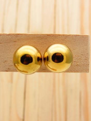 aretes dorado 14mm bola soplado