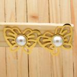 aretes dorado perlas blanco